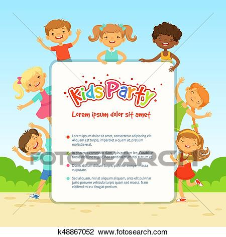 Vector poster for children party. Funny different kids in active poses  Clipart.