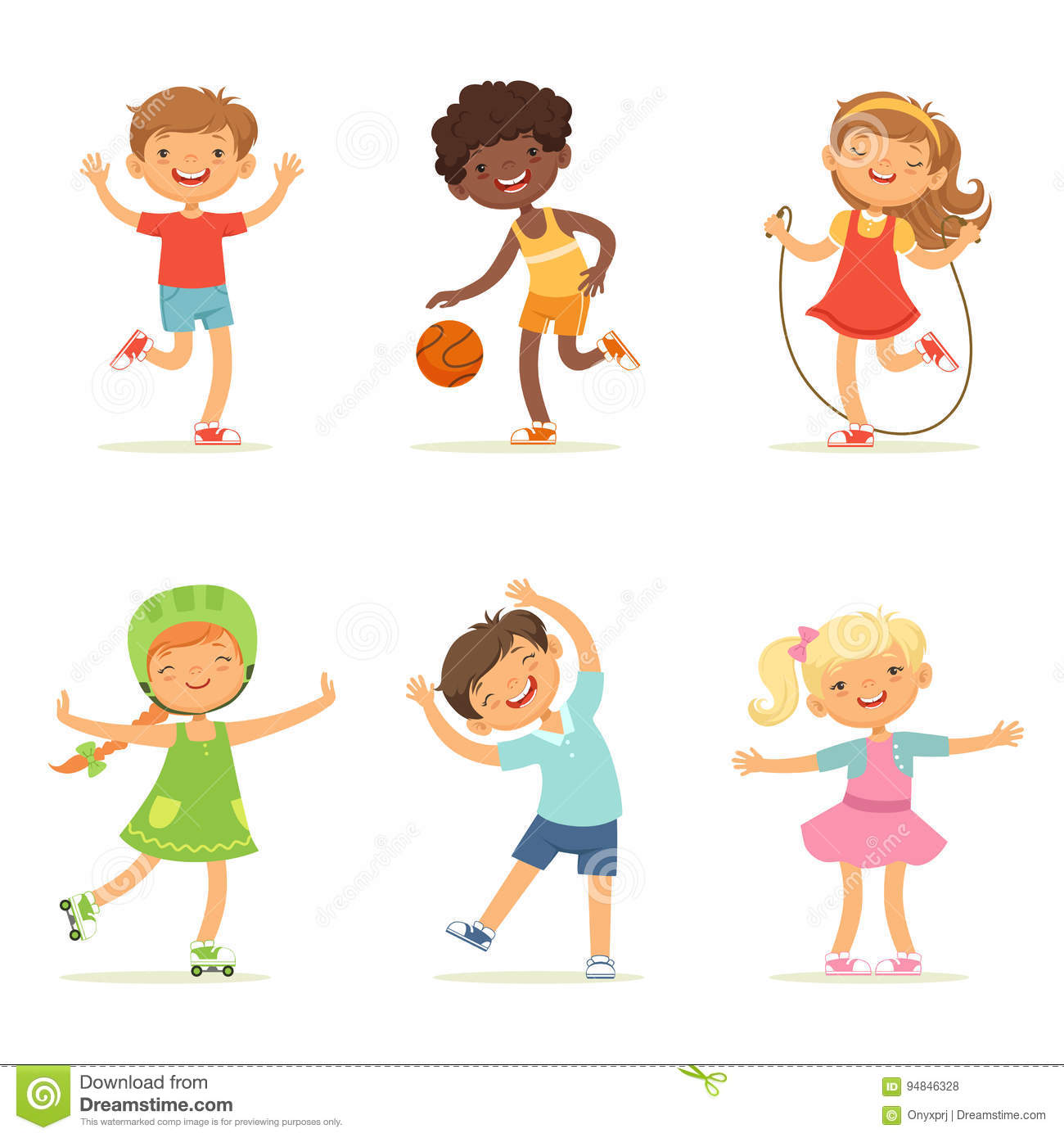 Kids Playing In Active Games. Vector Illustrations Of Funny Children.