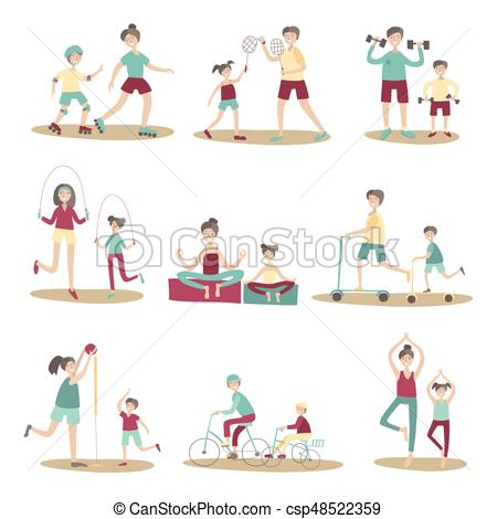 Parents and children together doing sport and active recreation outdoors.  Vector illustration set, isolated on white..