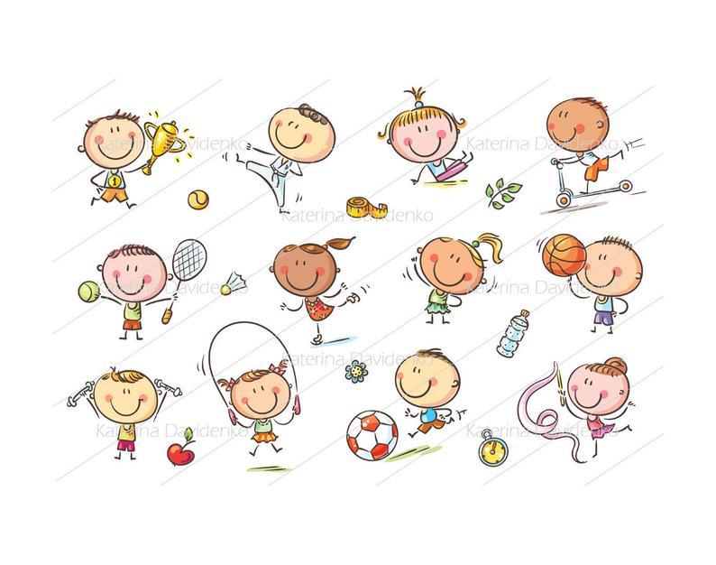 Kids and Sport, sport clipart, kids activities, activities clipart, kids  winner, boy sport clipart, girl sport clipart, children clipart set.