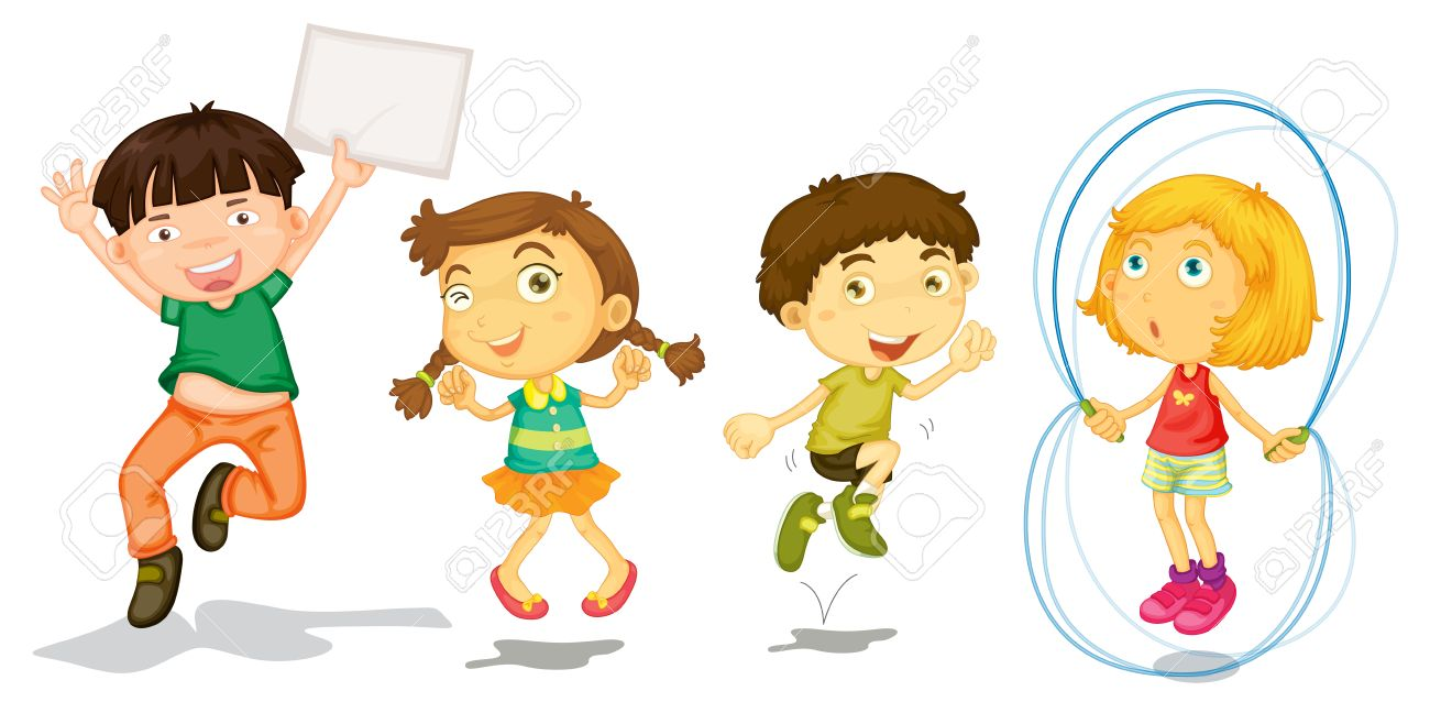 Illustration of the active kids playing on a white background.