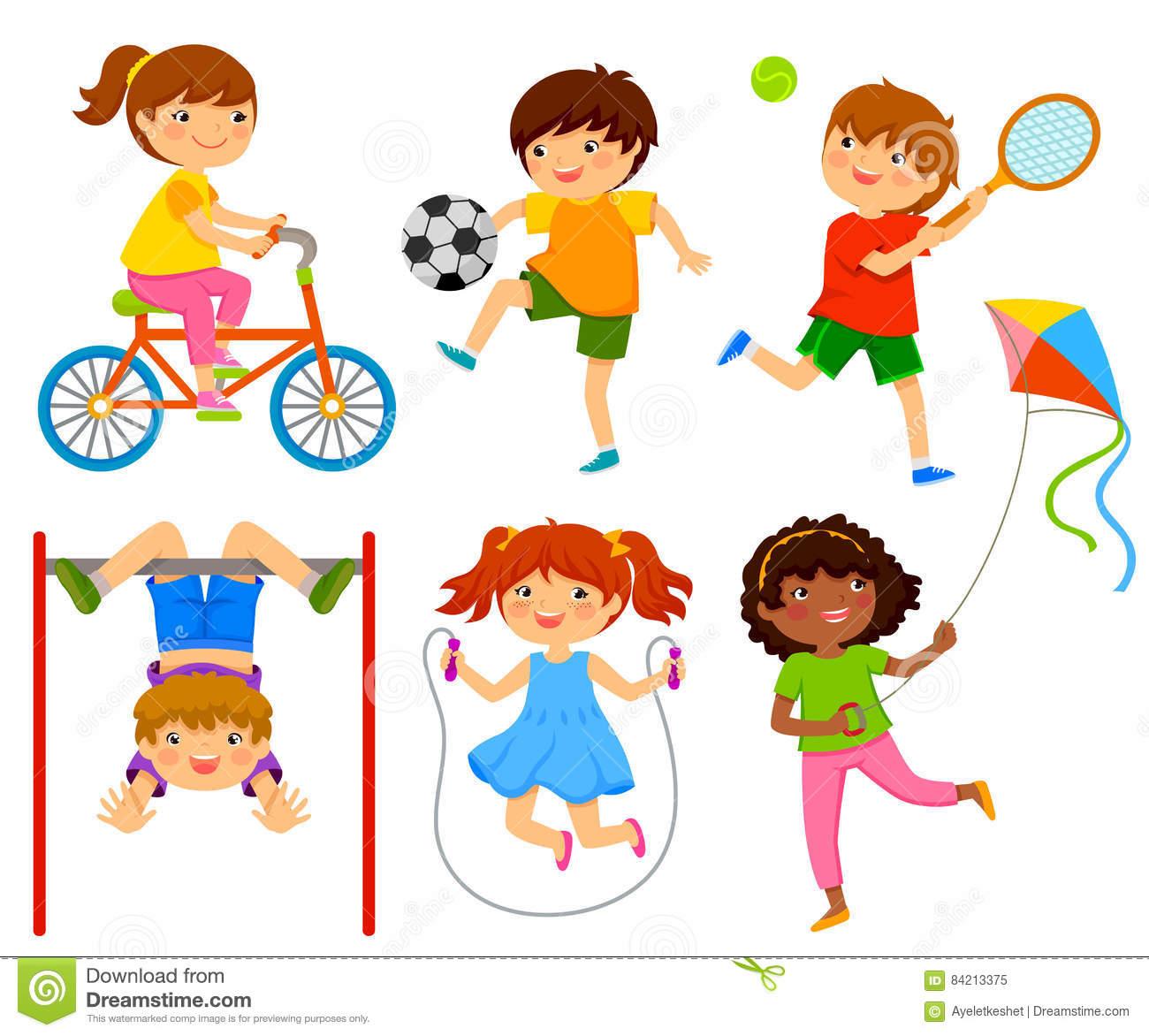 Active kids stock vector. Illustration of children, happy.