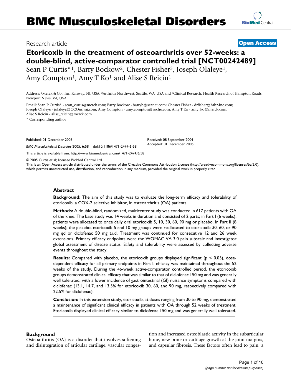 Etoricoxib in the treatment of osteoarthritis over 52.