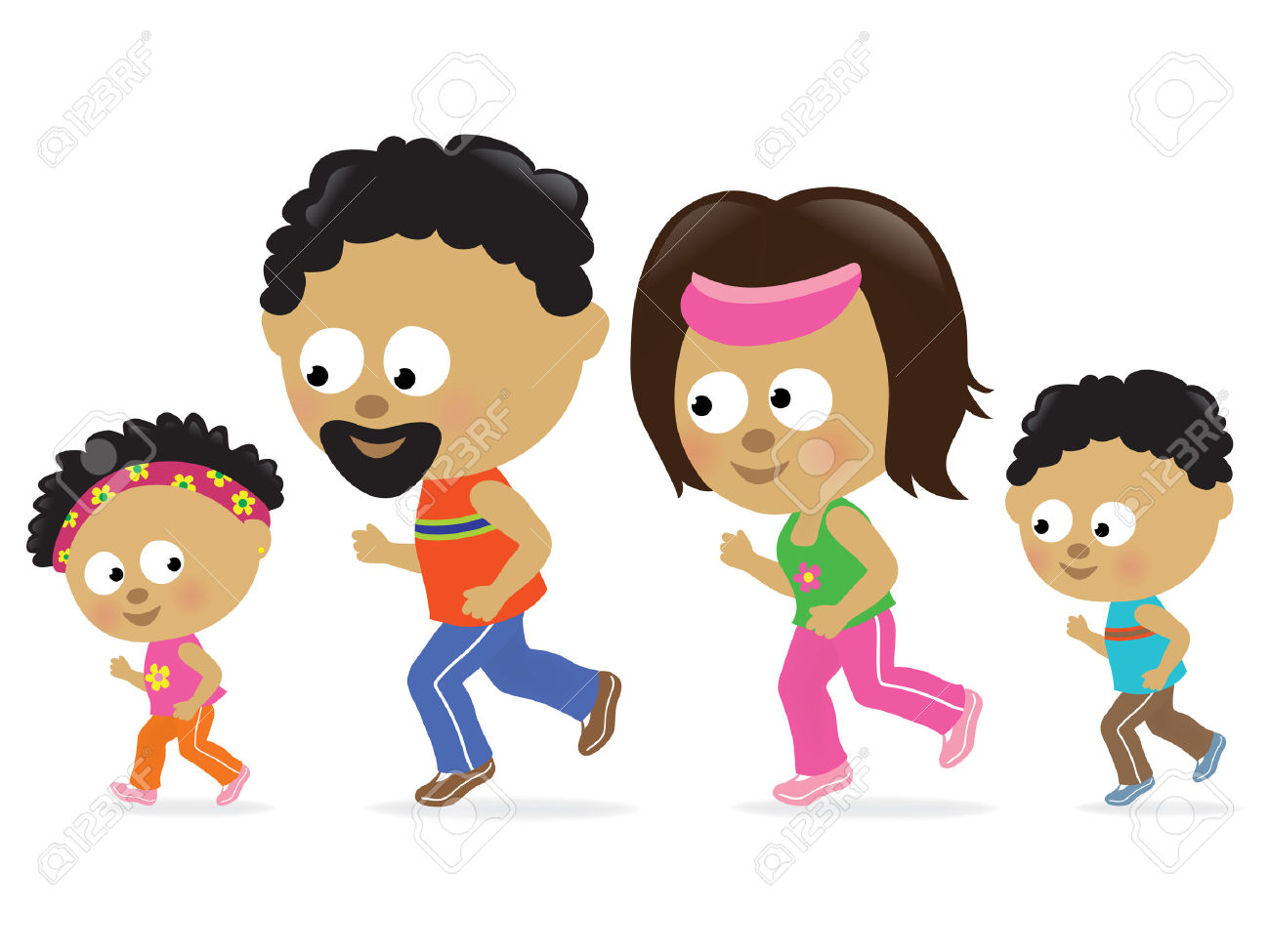 Family Jogging Clipart.