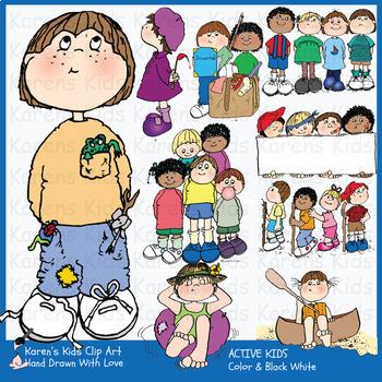 Clip Art ACTIVE KIDS and CAMP KIDS (Karen\'s Kids Clip Art).