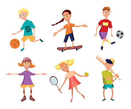 Collection of Cute Happy Children Playing Sports. Active.