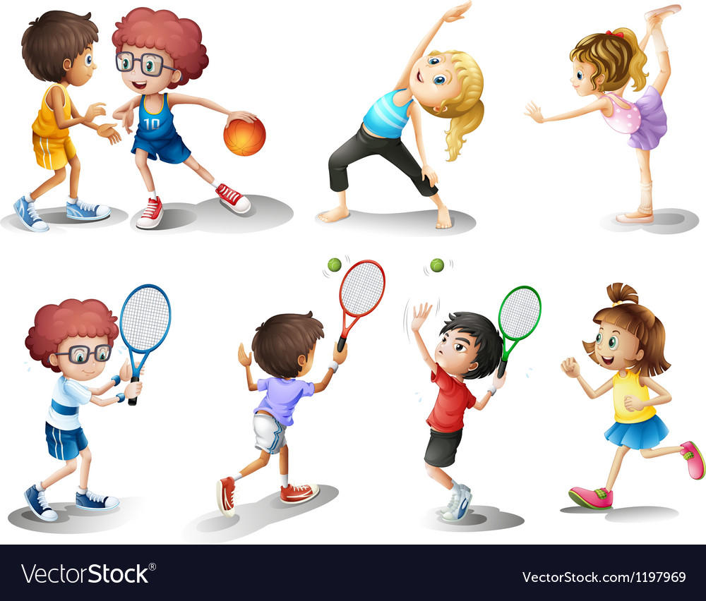 Kids exercising and playing different sports.