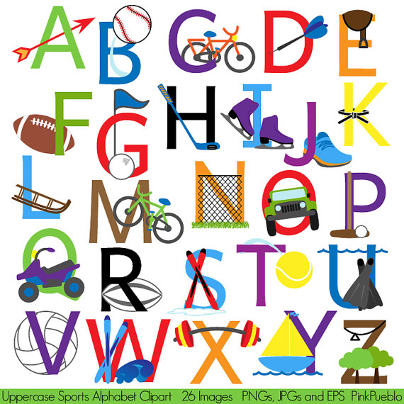 Sports Alphabet, Font with Sports Letters Clipart Clip Art.