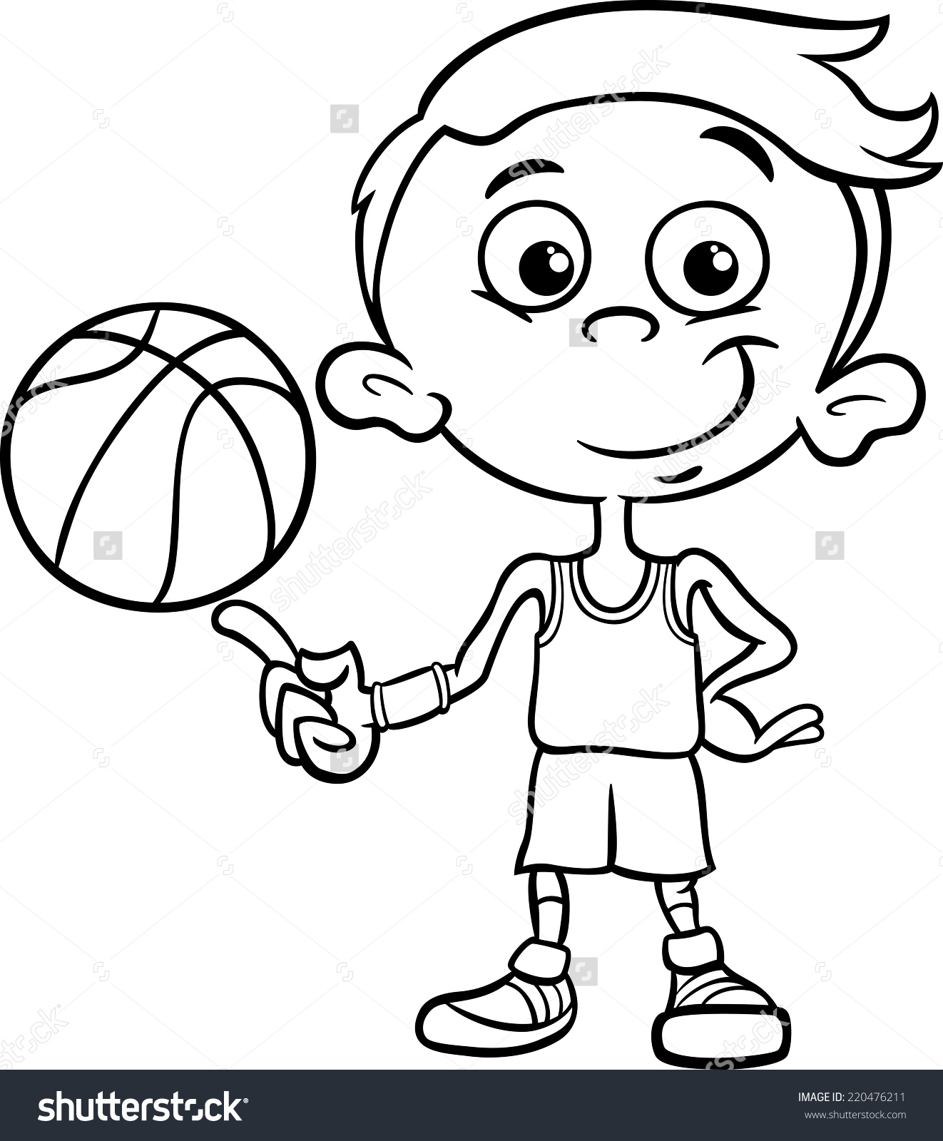 Active Boy Clipart Black And White.