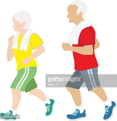 Active Senior Couple Jogging,Isolated Clipart Image.