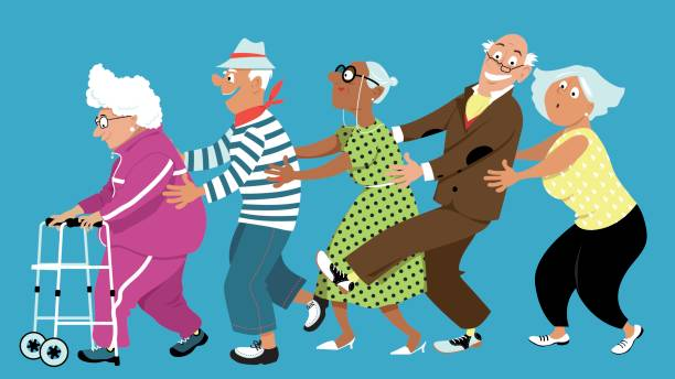 Seniors Walking Clipart.