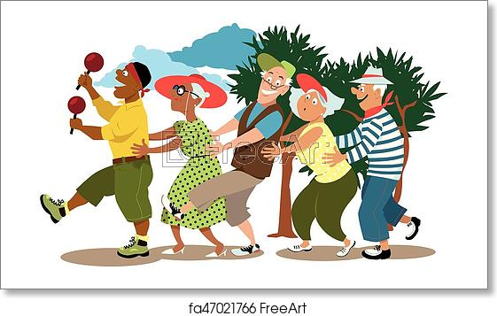 Free art print of Seniors dancing conga.