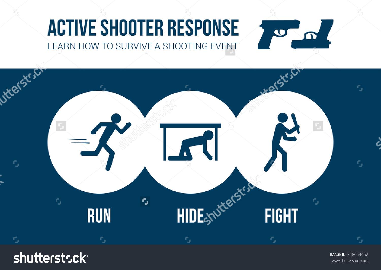 Active Shooter Response Safety Procedure Banner Stock Vector.