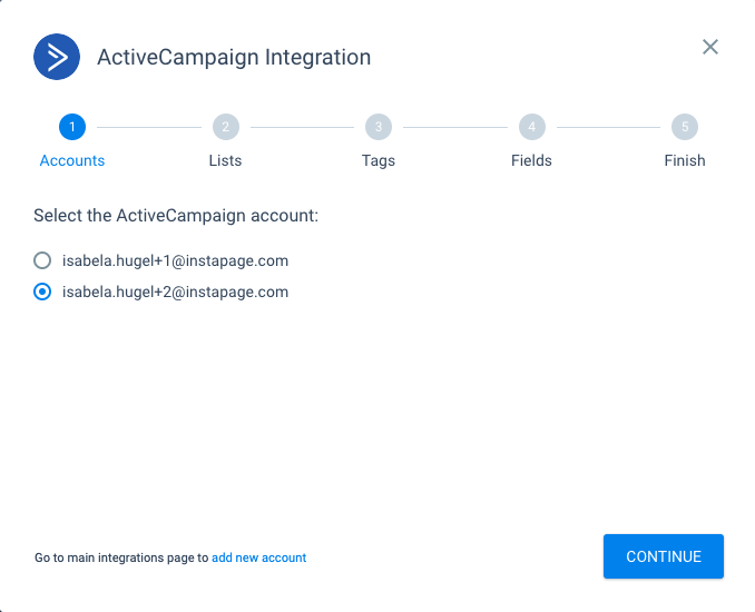 Integrating with ActiveCampaign.
