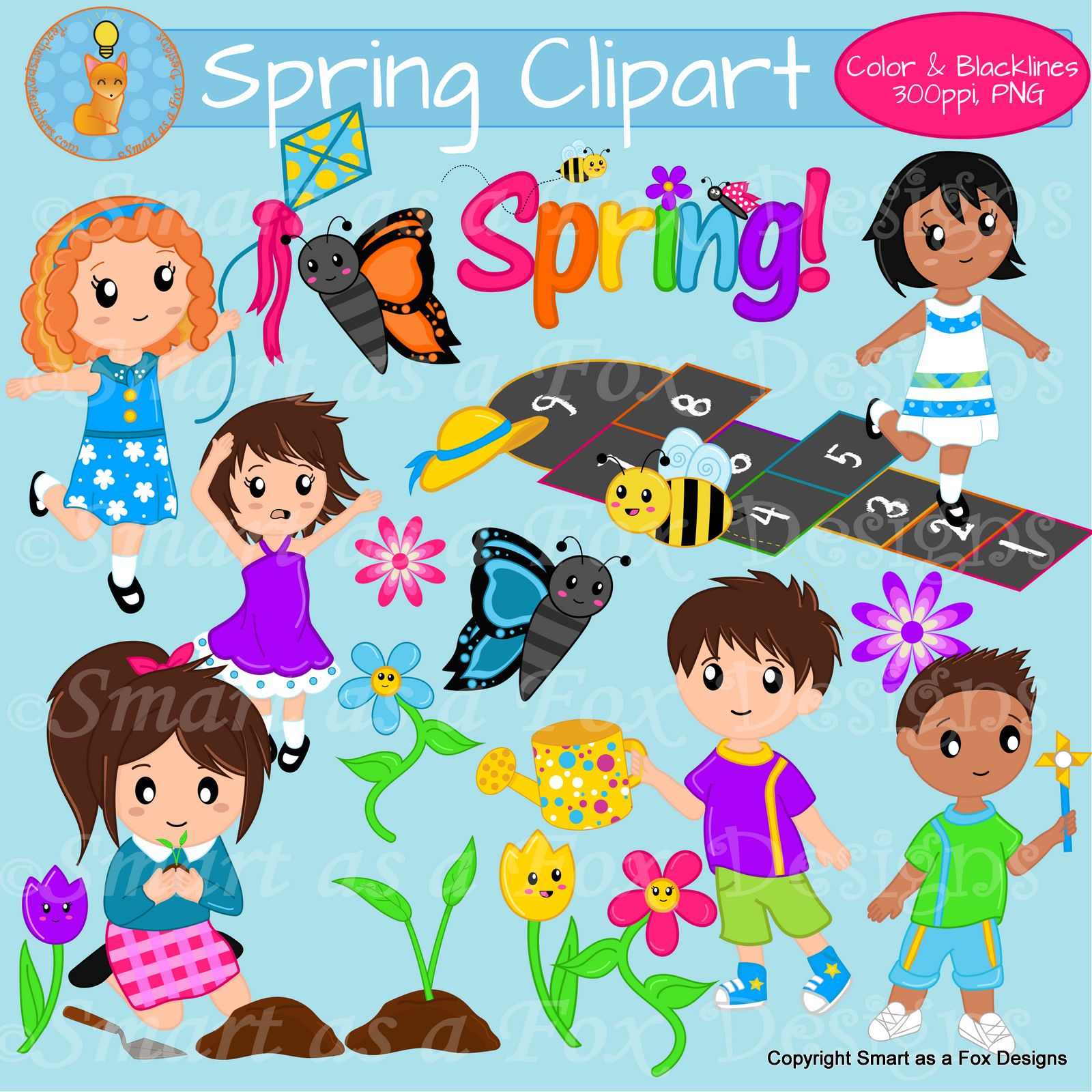 Spring Activities Children Clipart.