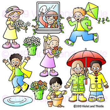Spring Kids Clipart, Spring Verbs, Spring Activities Clipart, Spring Action.