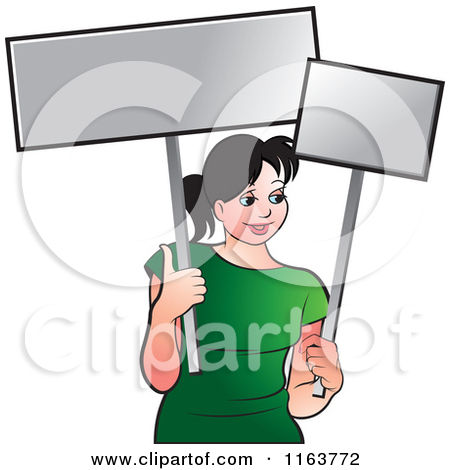Clipart of a Retro Activist Worker Protesting with a Sign.