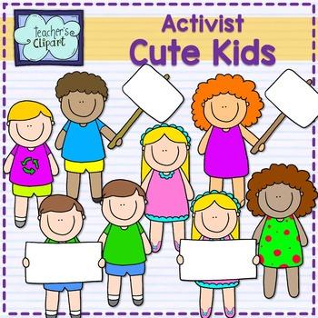 Activist Cute Multicultural Kids Clip art {Blank signs}.