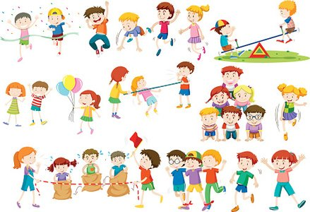 Children playing different games and activities Clipart.