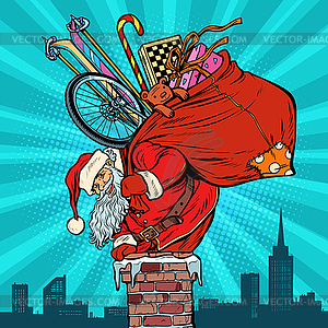 Activities and games. Santa Claus with gifts.