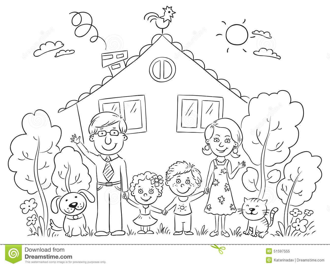 free clipart picture of my house and family black and white.