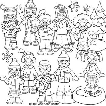 Winter Kids Clipart {Winter Verbs Clip Art} Activities.