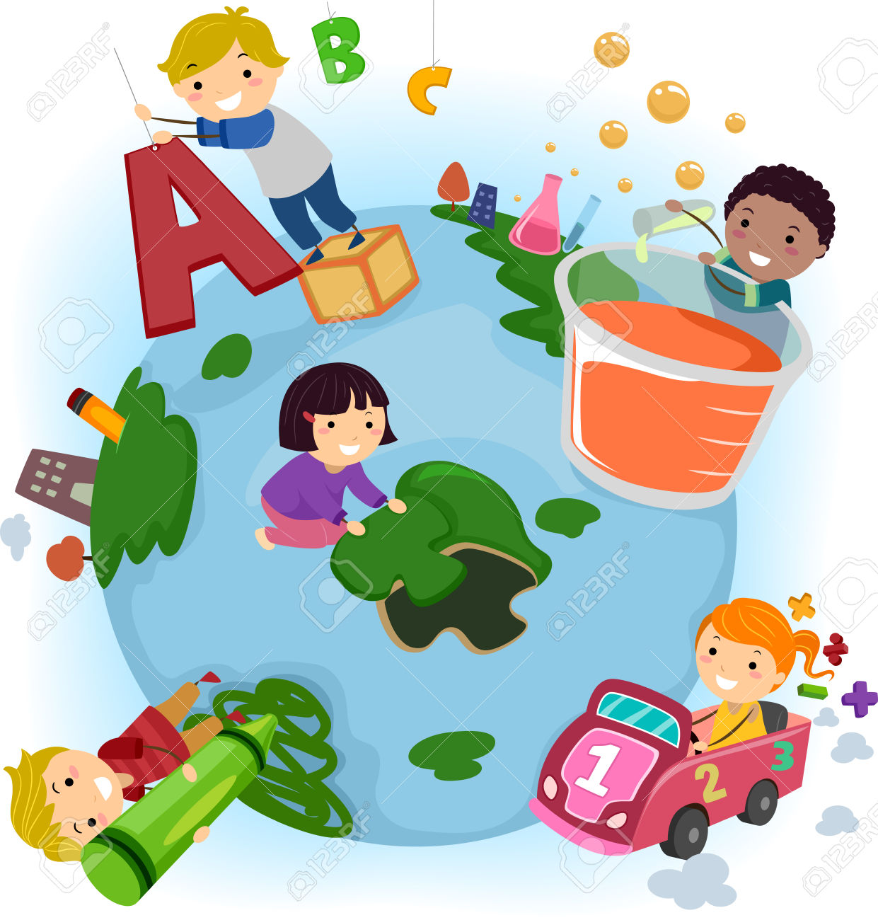 Children school activities clipart.