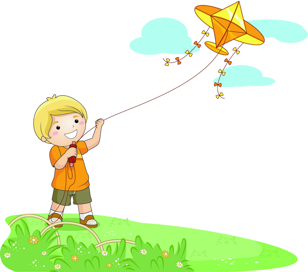 Activities During Windy Day Clipart.