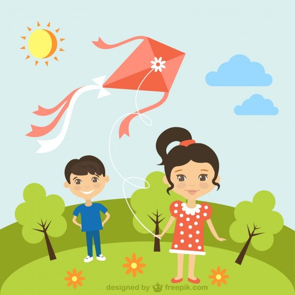 Children with Kite in Sunny Day Free Vector.