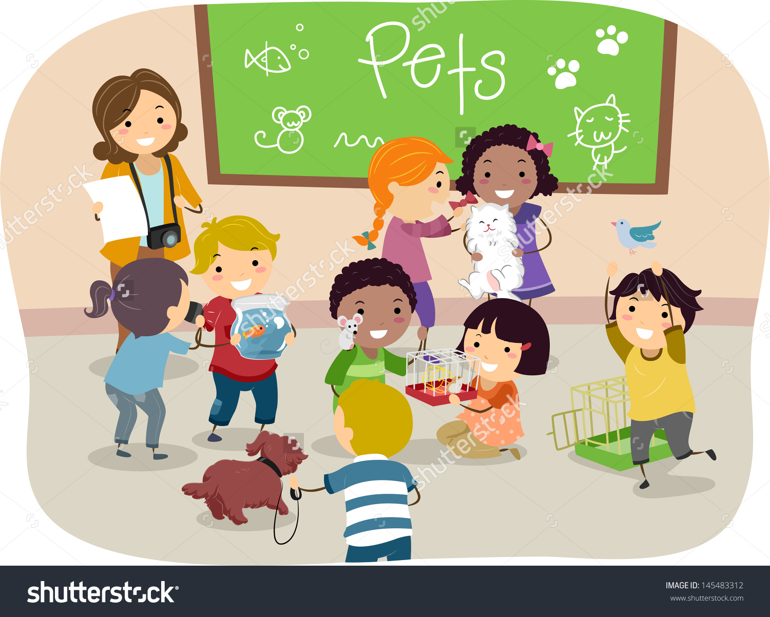 Children Playing In The Classroom Clipart.