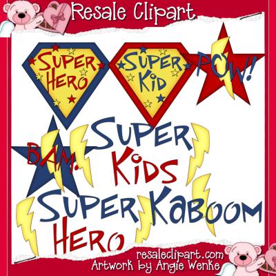 Super Kids Word Art Clip art Graphics by Resale Clipart.