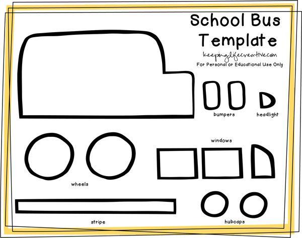Printable School Bus Craft Template.