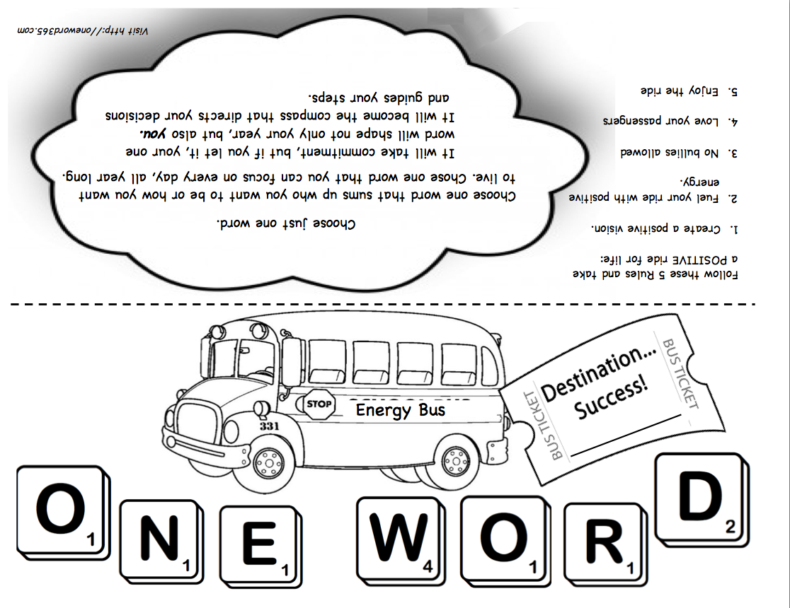 PRINTABLE = The Energy Bus / One Word Project for students.