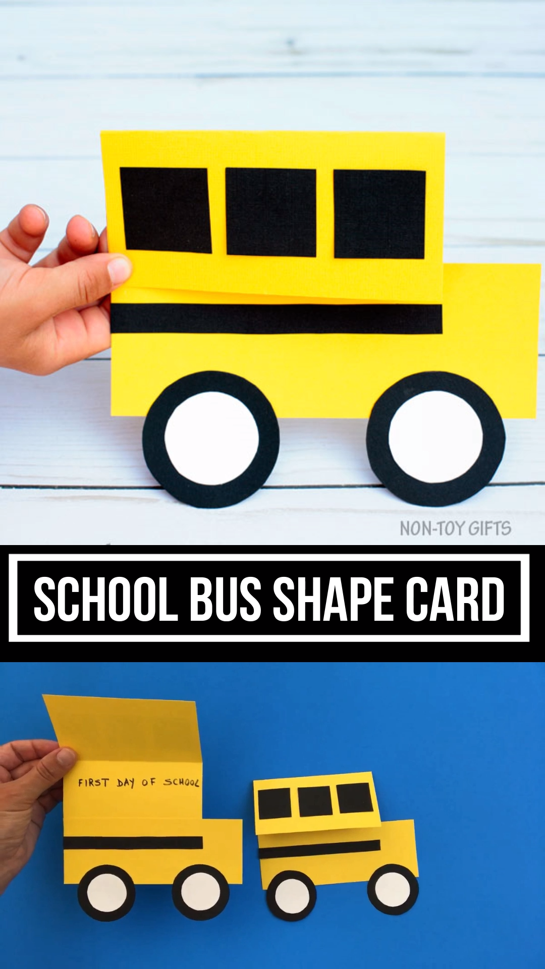 Watch this: School Bus Shape Card And Craft For Kids To Make On The First  Day Of School.