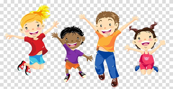 Four children jumping illustration, After.