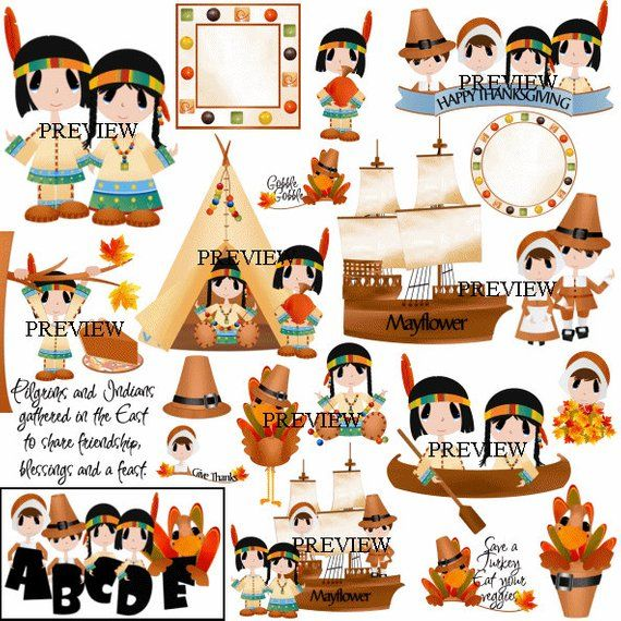 Pilgrim clip art, indian clipart, Mayflower graphics.