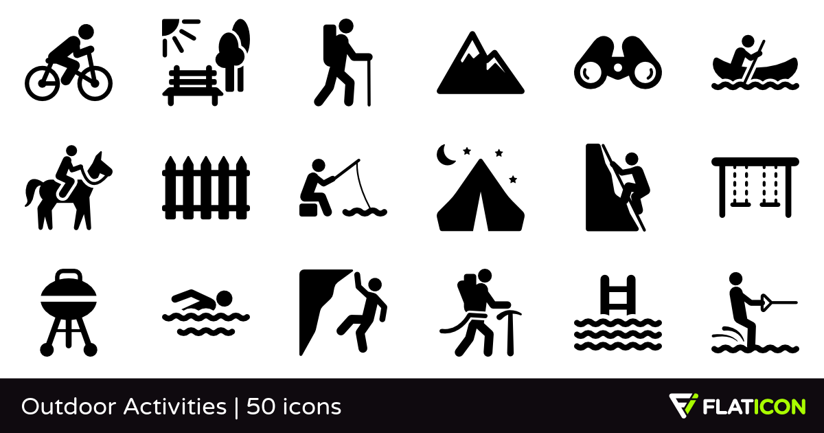 Outdoor Activities 50 free icons (SVG, EPS, PSD, PNG files).