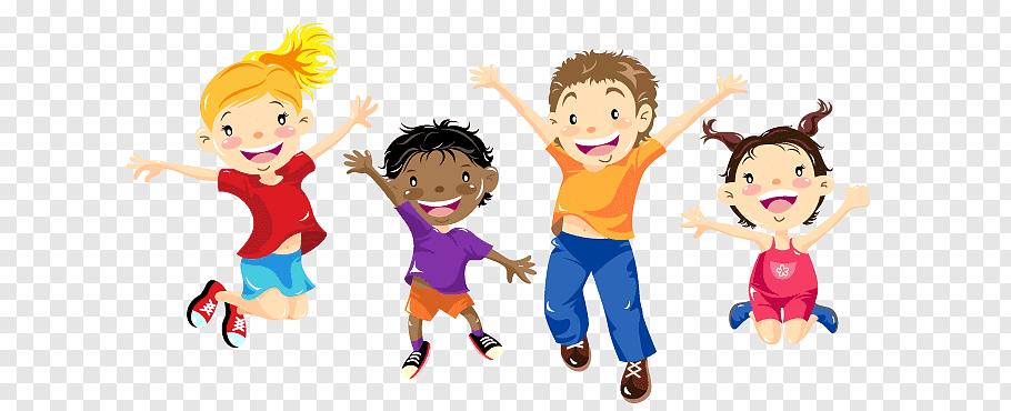 Four children jumping illustration, After.