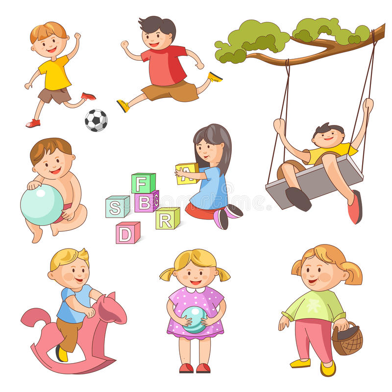 Playing Outdoor Games Clipart.