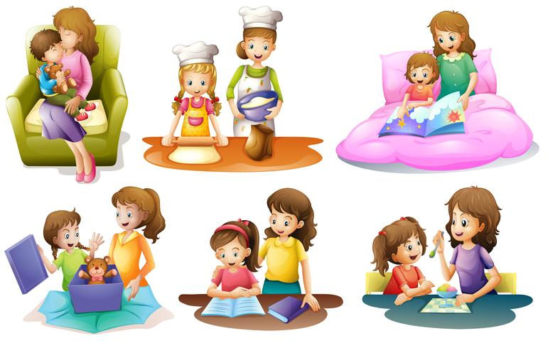 Different activities of a mother and a child.