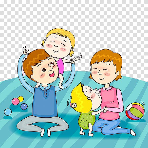 Child Parent Play Illustration, Parents and children play.