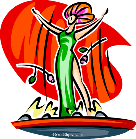 Actress on stage Royalty Free Vector Clip Art illustration.