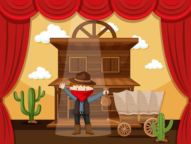 Boy acting on stage with cowboy scene.