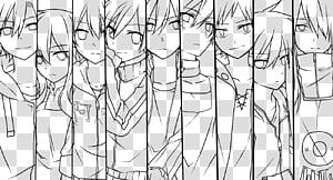 Lineart Mekakucity Actors, anime character outline.