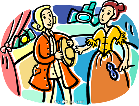 Two actors on stage Royalty Free Vector Clip Art illustration.