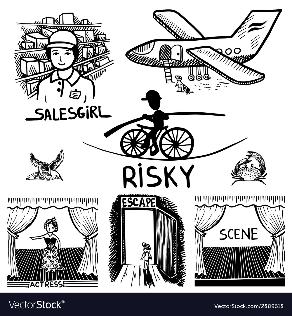Ink drawing of risky salesgirl scene actress.