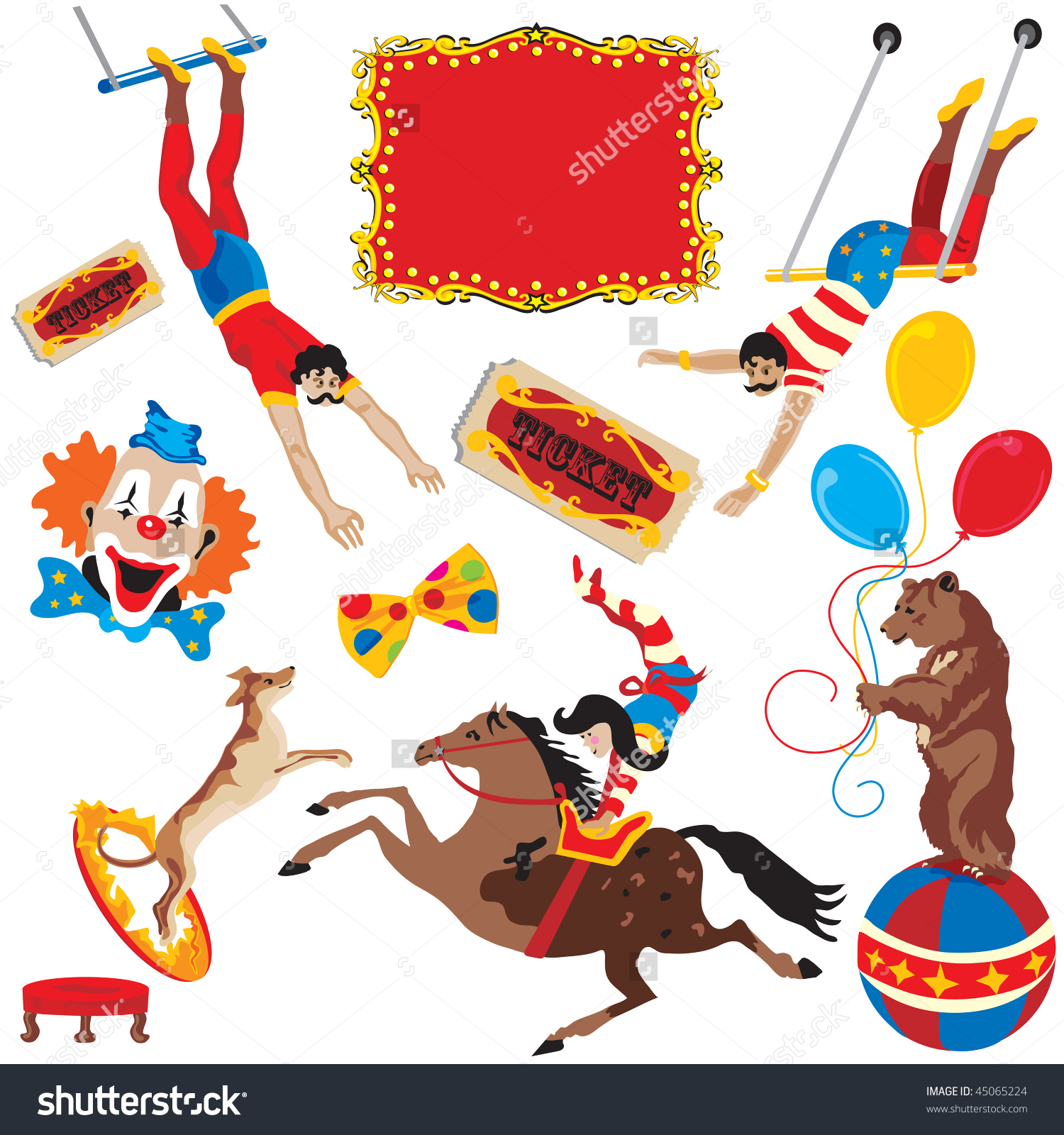 Circus Acts Clip Art Party Icons Stock Vector 45065224.