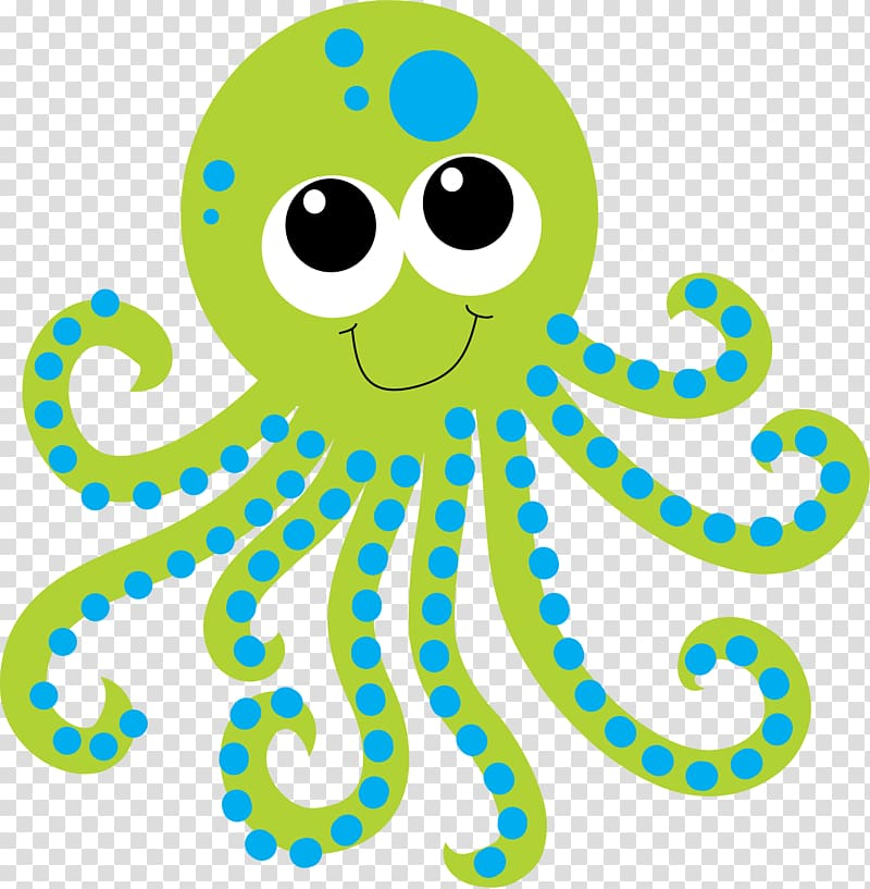 Green and blue octopus , Deep sea creature Aquatic animal.