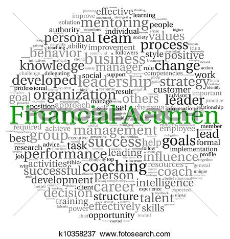 Stock Illustration of Financial Acumen concept in word tag cloud.