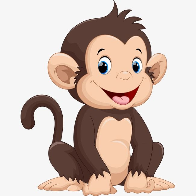 Happy Little Monkey, Monkey Clipart, Cartoon Comics, Animal.